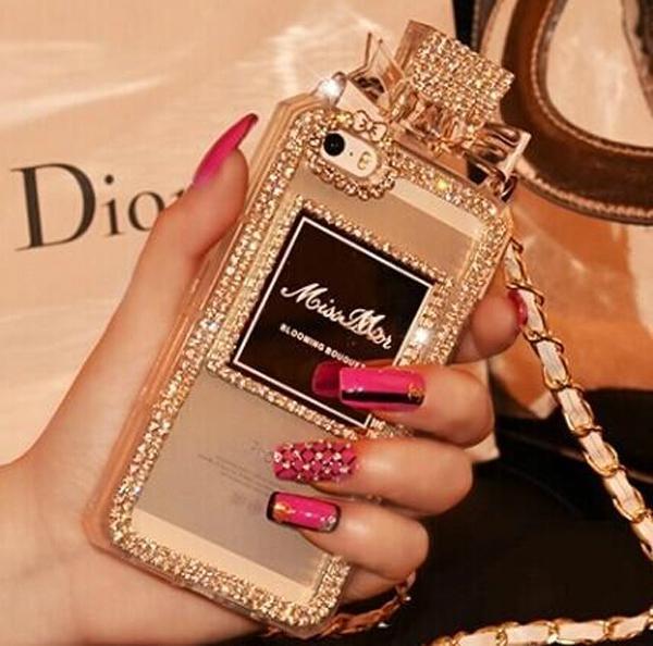 Perfume Bottle Chain case Handbag TPU diamond Bling Cover for iPhone Samsung 1