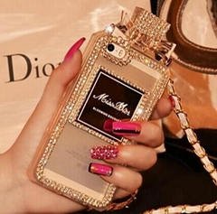 Perfume Bottle Chain case Handbag TPU diamond Bling Cover for iPhone Samsung