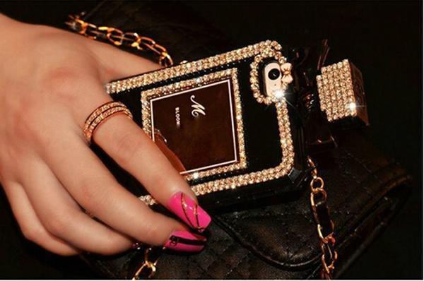 Perfume Bottle Chain case Handbag TPU diamond Bling Cover for iPhone Samsung 2
