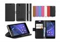 Sony Xperia C3 Lychee PU Leather Wallet Case Stand Cover Credit Card Slots