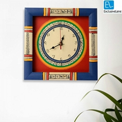 Warli Handpainted Clock 10*10 Inch Red