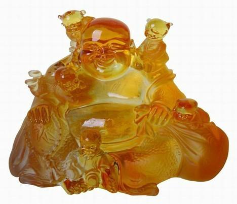 liuli crystal happiness buddha and five children  1
