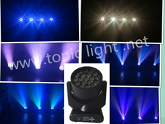 19pcs 12W RGBW 4 in1 Hawk eyes LED stage moving Head light .51 static effects