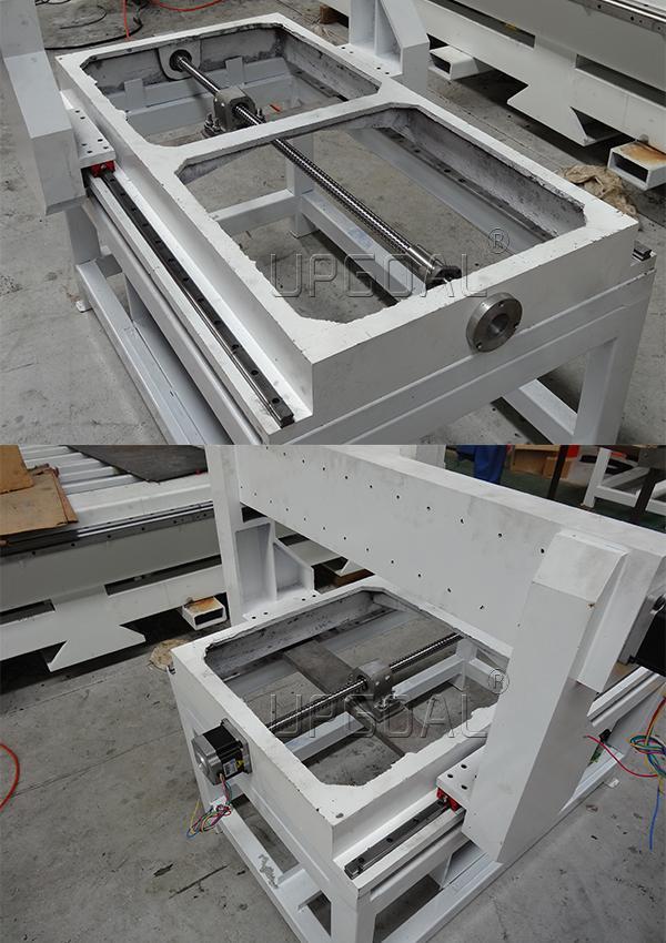 Cast iron machine bed & cast aluminum gantry structure