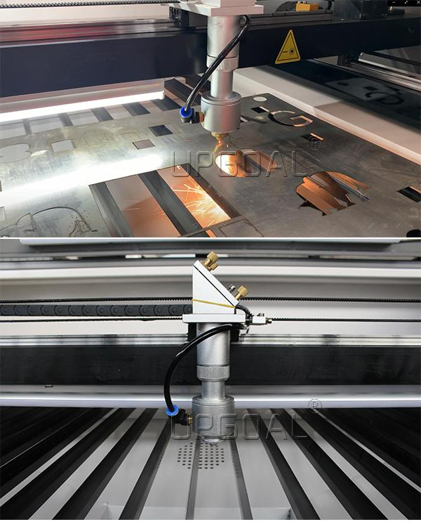Equipped with metal&non-metal cutting head. Stainless steel, carbon steel, acrylic and wood can be cut.