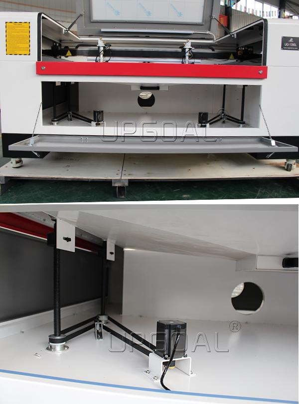 Automatic lifting table:Mwith 280mm up-down distance for thick material and rotary device working