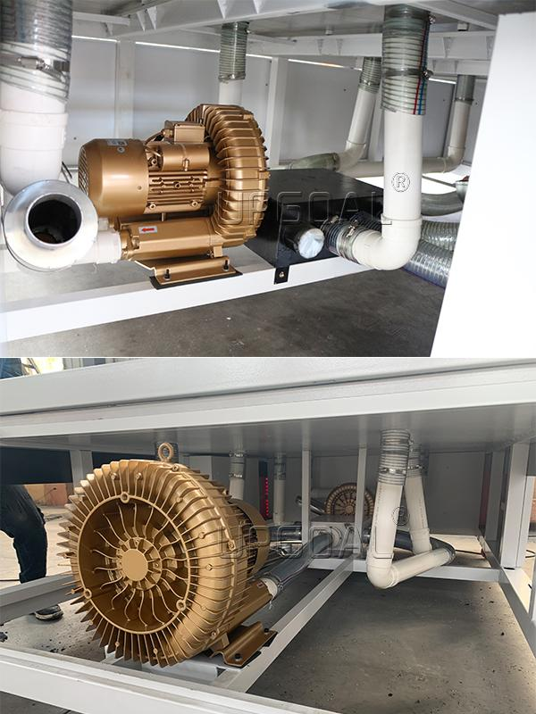 , equipped with 2 sets 7.5KW+2.2KW high pressure air cooling turbofan, high adsorption ability.