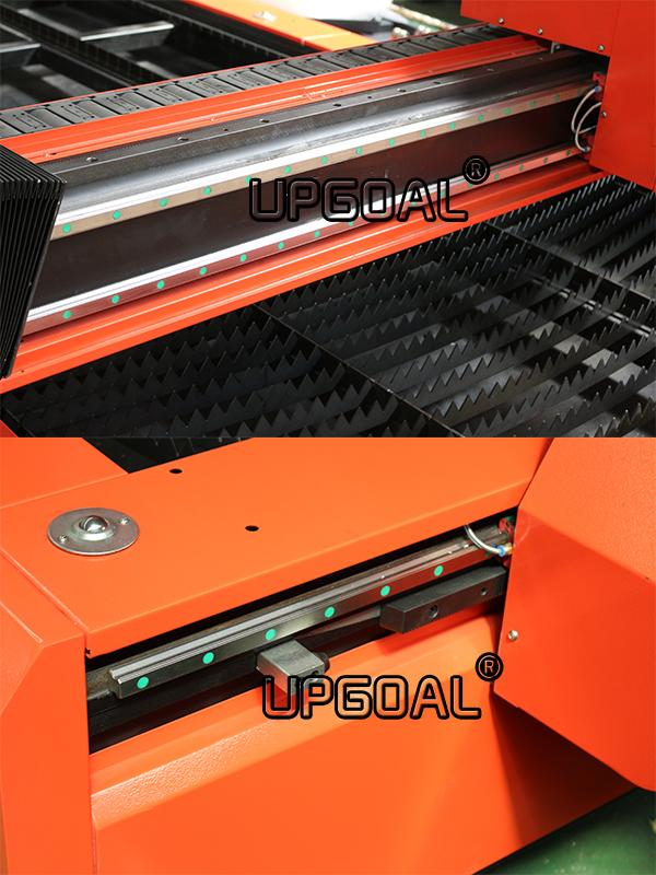 Dual driving for Y-axis, XY-axis adopts high precision linear square guide rail, Hiwin, Taiwan, good oriented, high precision. Transmission is high precision helical rack and pinion, customized by the specialized manufacturer, surface carburizing quench, stable moving and high precision.