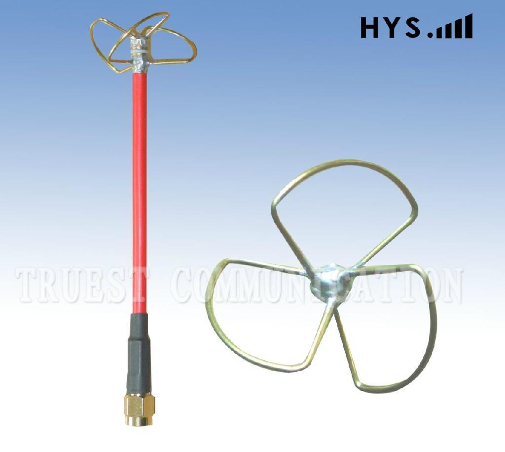 5.8GHz Cloverleaf Whip Antenna / Skew Planar antennaTCQZ-WZ-2-5800V-RG141-3 1