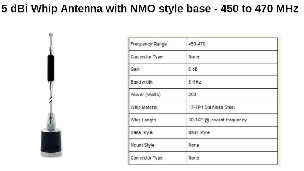 OMN UHF High Gain Loading Inductance Whip Antenna TC-U55N1A 3
