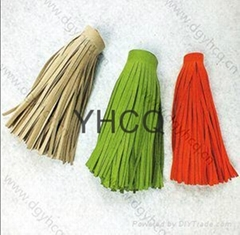 "best quality 2""-36""long suede leather fringe tassel for scarf garment"
