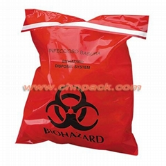 self adhesive tape red plastic biohazard bag for clinical
