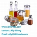china 8pcs condiment set salt pepper oil glass bottle mug with wire stand 1