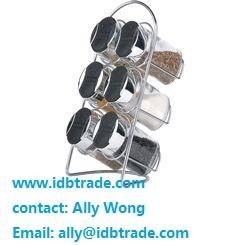 china 8pcs condiment set salt pepper oil glass bottle mug with wire stand 4