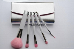 5 pieces makeup brush set with a leather bag