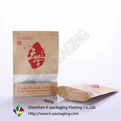 Stand up Zip Lock Kraft with Window Tea Bag Suppliers