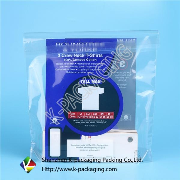 Stand up Self Adhesive Plastic Pouches Packaging for Shirt 1