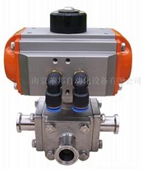 AT201U DA进口气动三通卡箍快装不锈钢卫生级球阀