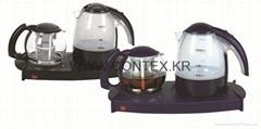 1.7L kettle, 1.4L pot TEA TRAY WITH Clear glass tea pot