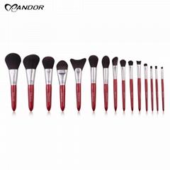 15 pcs Fashionable Soft Bristle Synthetic Hair Eco friendly Cosmetic Brush Kits