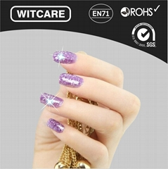 NFC Lumious Nail Stickers with LED Light Flash Affixed