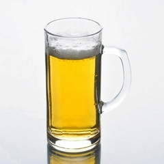 Glass cup with handle for beer