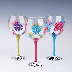 sunflower painted red wine glass