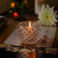 Crystal clear engraved glass candle holder