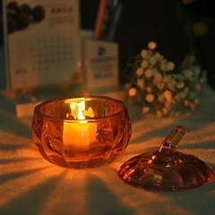 Pumpkin Shaped Ion Plating Glass Candle Holder