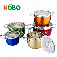 stainless steel colorful stock pot