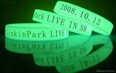 cheap unique QR Code silicone glow in the dark silicone bracelet glowing silicon
