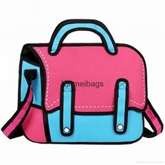 Wholesale New Fashion Leisure 3D Comic Cartoon Messenger bag, 2D comic cartoon b