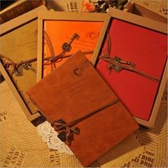 OEM custom Europe retro stype bandage hardcover diary notebook has white paper