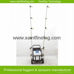 Battery powered disinfecting poultry farming equipment