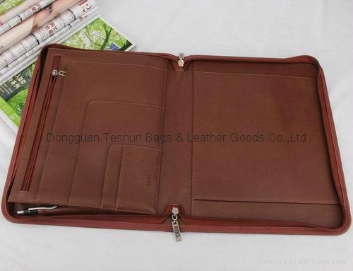 zipper portfolio with PU material 2