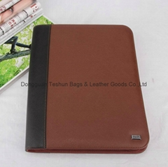 zipper portfolio with PU material