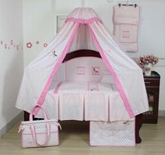 女童粉色蜻蜓蝴蝶床上用品套件