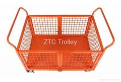 Warehousing logistics platform trolley with sides,workshop platform hand truck