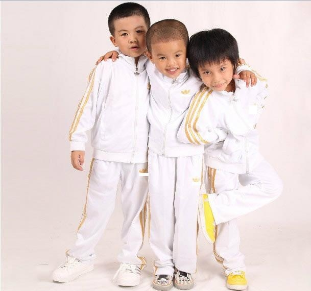 white classic kid tracksuits