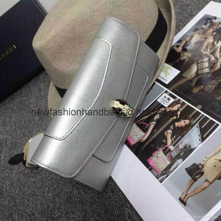 Bulgari purse Walnut calf leather wallet snake head wallets hand bag evening bag