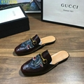 gucci slippers  leather sandals yellow paint slipper  metal bow shoes