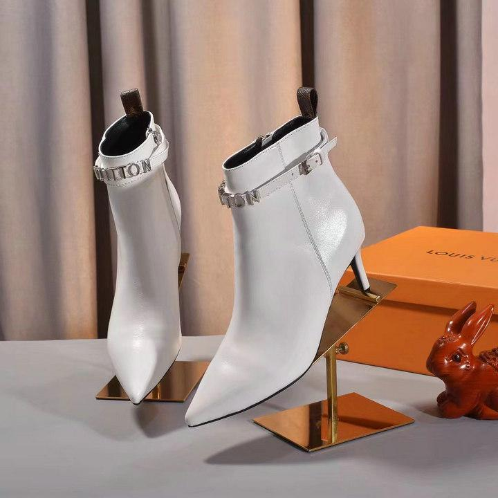 white lether ankle boots women boots with Golden buckle
