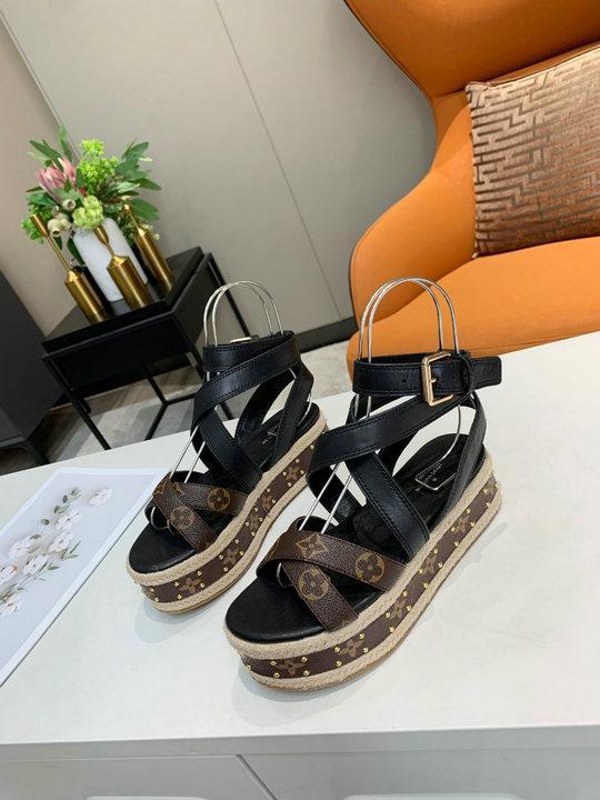 Wedge heel shoes  lv sandals women shoes