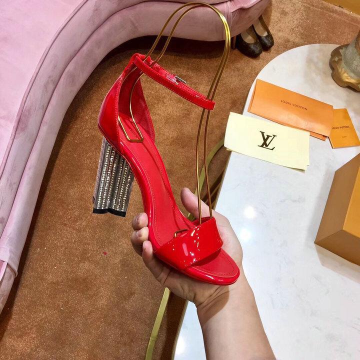 red sandals crystal heels shoes LV sandals high heel