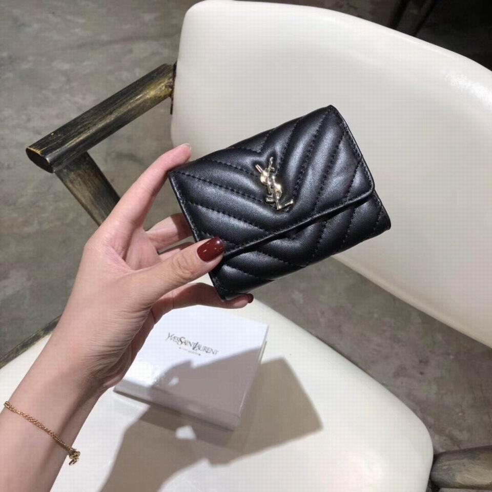 YSL wallets folded leather purses zippered coin pocket