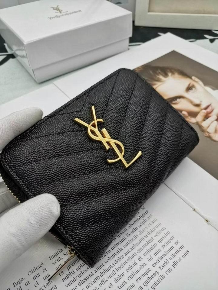 zip around, top closure  card holder , zippered coin pocket Ysl wallet texured zip wallets