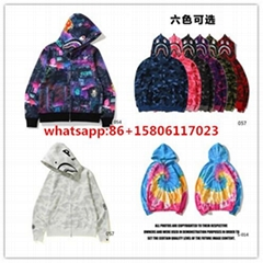 bape hoodies splicing sleeves bape jackets shark coat zip up hoodies