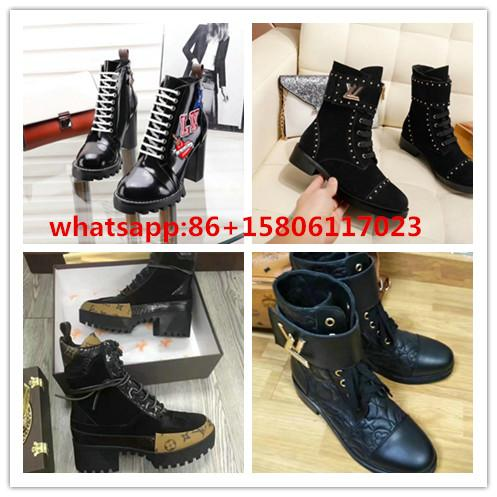 palent leather boots women LV boots ankle boots