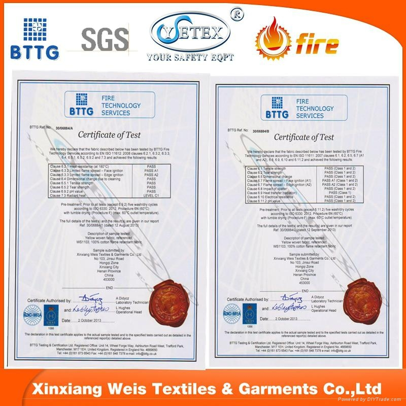 fire proof cotton nylon C/N FR fabrics for safety workwear  2