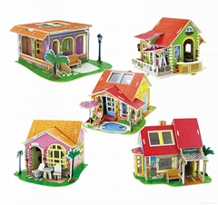 Dream Villa Series 5 Styles DIY 3D Wood House Puzzle with furniture